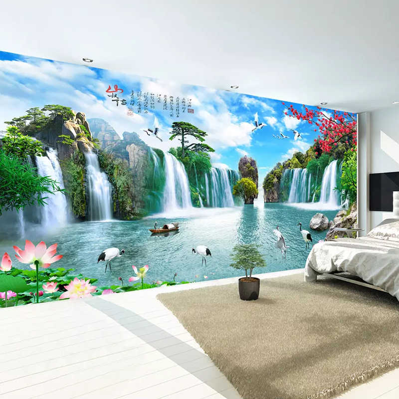 Chinese Style Mountain Water Landscape Large Murals Waterfall Custom 3D Photo Wallpaper For Living Room TV Background Wall Mural