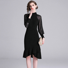 ARiby Summer Women Dress Fashion Vestidos Black Elegant Temperament translucent Knee-Length Ruffles Solid Party
