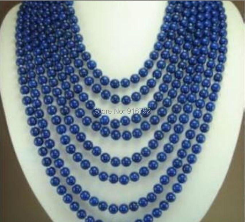 Yh @ CS > > 8 linhas charme 6 mm bleu lapis lazuli collier de perles AAA +