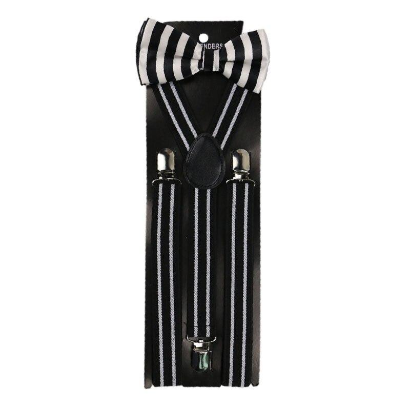 Winfox Vintage Black White Women Men Suspenders Bow Tie Set Striped  Brace
