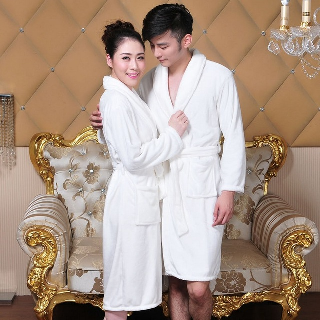 cfe5dd1974 Thick Flannel Pajamas Couple Thick Coral Velvet Robe Winter Warm Bath Robe  Hotel Flannel Gown Bathrobe Pyjamas for Men and Women