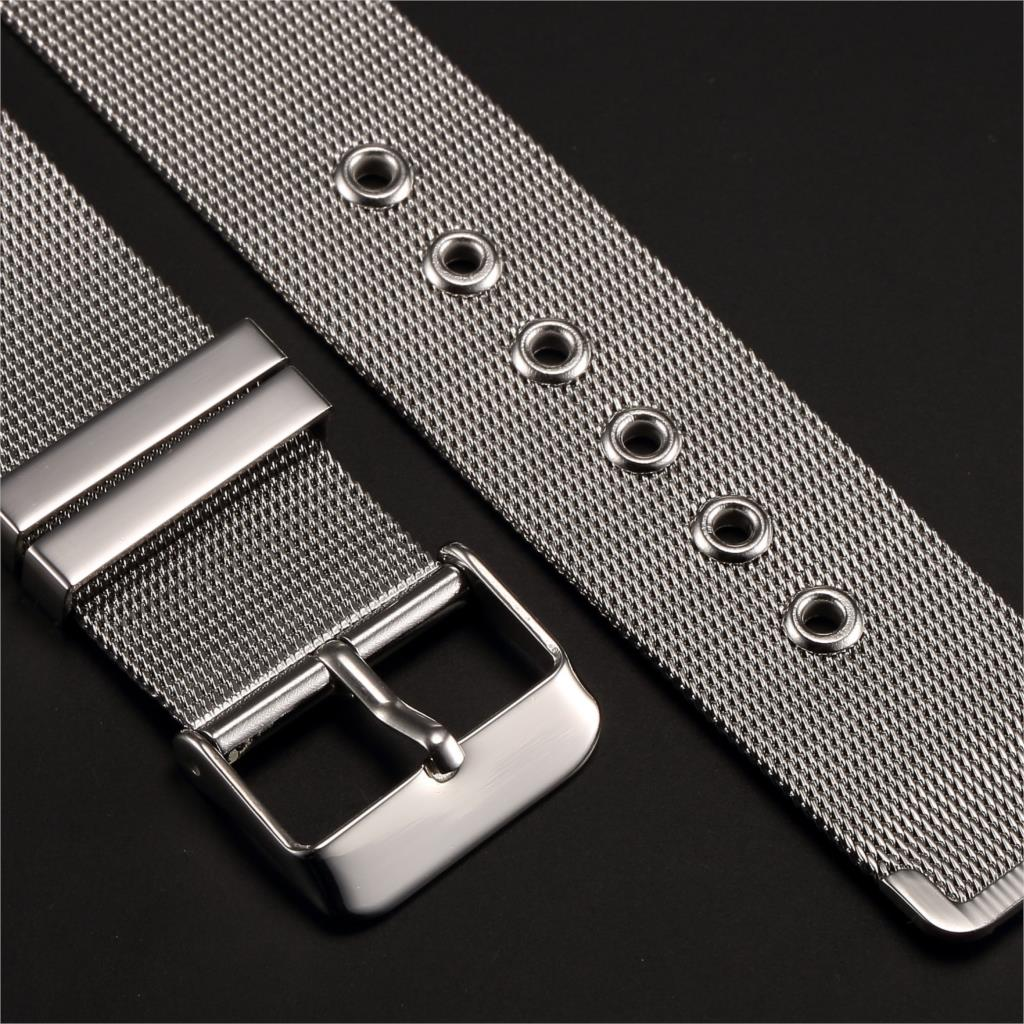 2017 New Mens Lady 20mm Durable Shark Mesh Watch Band Silver