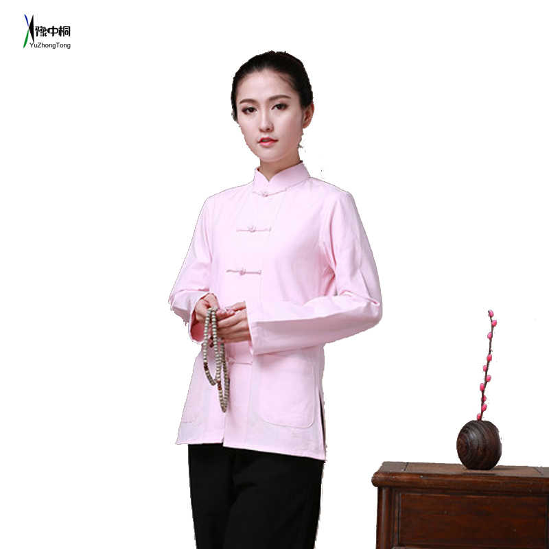 7bbdba530 ... 100% Cotton Long Sleeve Jacket Traditional Chinese Clothes Tang Suit  Top Women Kung Fu Tai ...