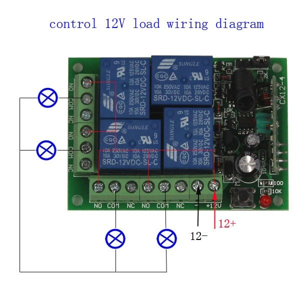 12V 4CH Channel Relay RF Wireless Remote Control-5