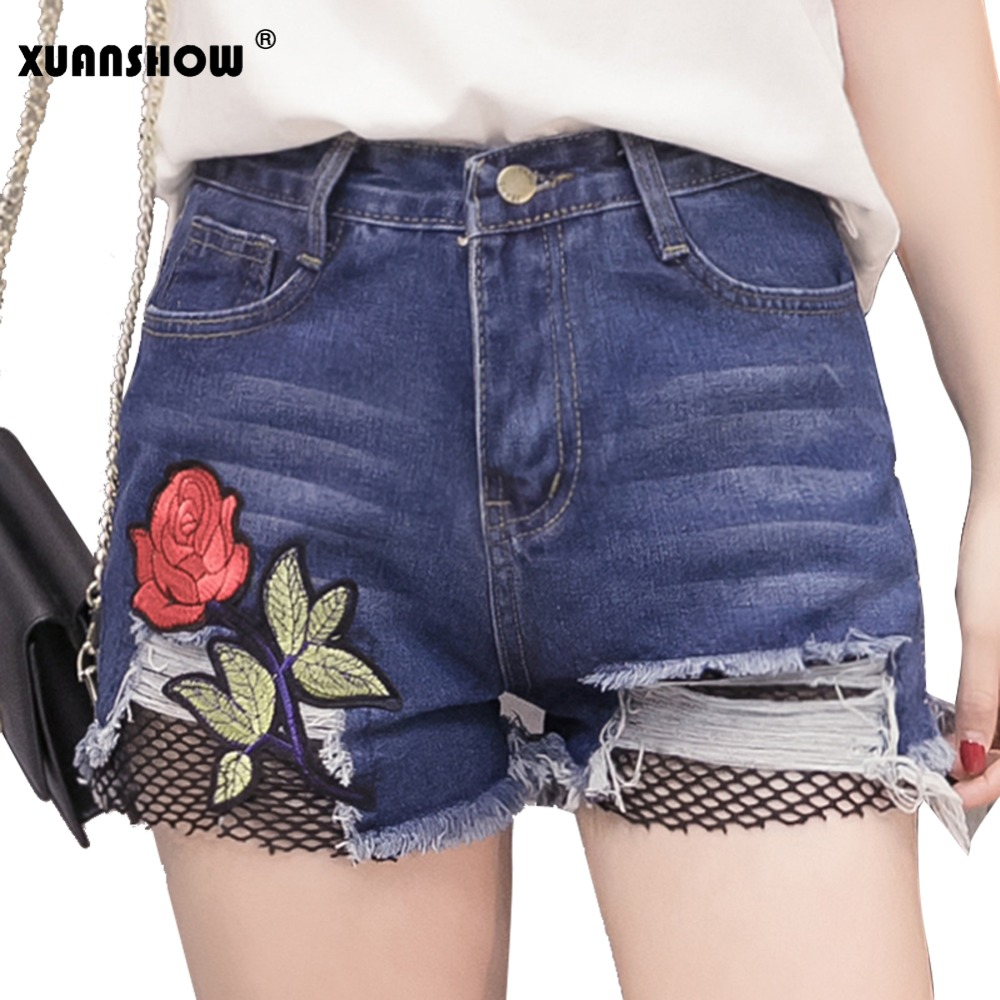 High Waist Denim Shorts Female Short Jeans for Women 2017 Summer Vintage Embroider Rose Flowers Hole Ladies Hot Shorts