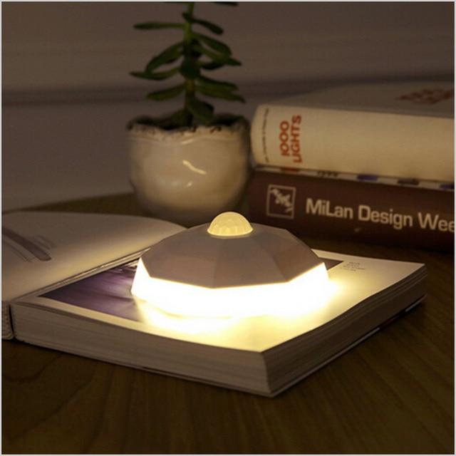 Creative Smart Human Body Sensors LED USB Rechargeable night light with motion sensor Diamond  Lithium Battery sensor light