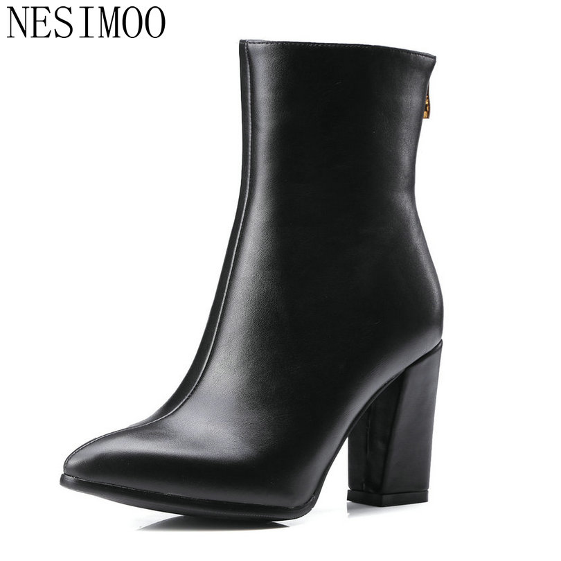 2018 Women Fashion Boots Sequins and PU Leather Zipper All Match Square High Heels Mid-calf Boots Pointed Toe Boots Size 34-43 nemaone 2018 women ankle boots square high heel pointed toe zipper fashion all match spring and autumn ladies boots