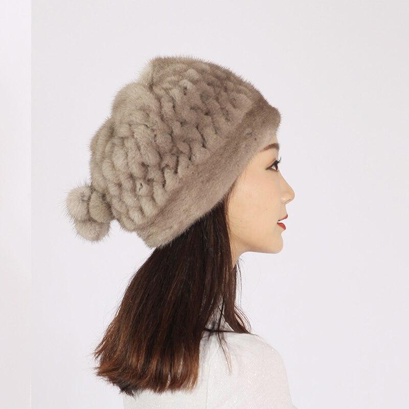 XINYUXIANG Luxury Fashion Mink fur Cap with Hairballs Women winter Black gray Import Full pelt Beanies Skullies real fur Hats