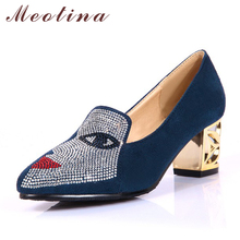 Купить с кэшбэком Meotina Women Heels Shoes Casual Thick Heel Lady Shoes Slip On Women Pumps Fall Ladies Shoes Women Party Shoes Plus Size 33-46
