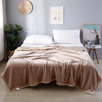 Flannel Coral Fleece Blanket Polyester Dark Solid Color 4 Size Mink Throw Sofa Cover Plaid Sheet Soft Blankets On The Bed 4 Size