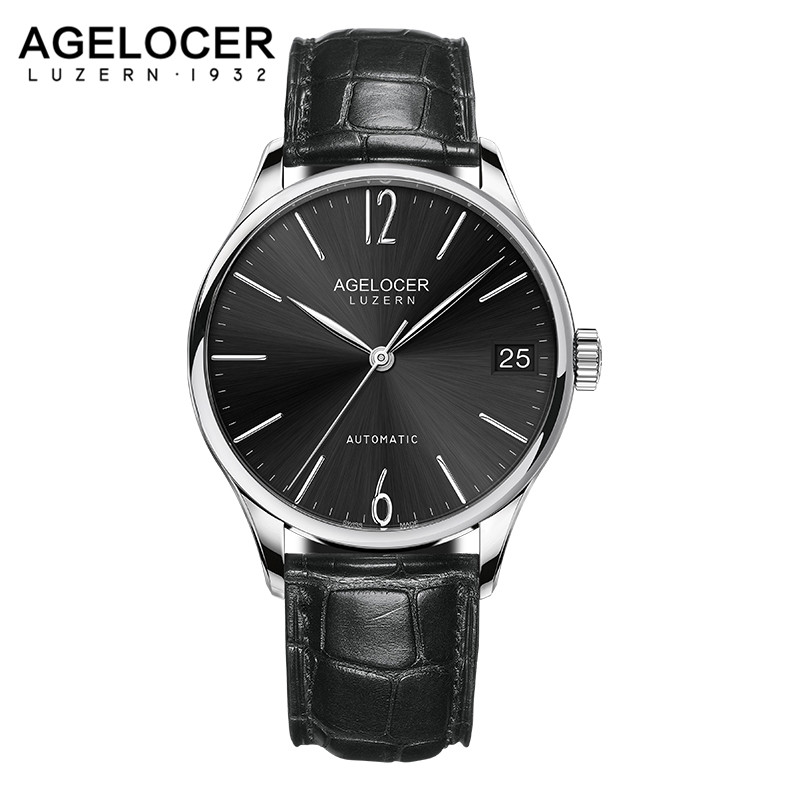 Military Sport Watches Men Black Fashion Casual Army AGELOCER Luxury Leather Watch Male Clock Wristwatch Power Reserve 42 Hours