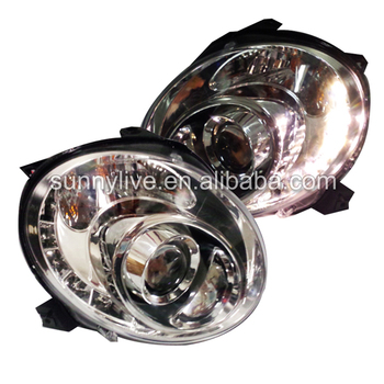 For Fiat 500 LED Head Lamps 2007-2014 Chrome Housing