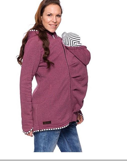 Warm Cotton Women's Maternity Carrier Baby Holder Jacket Kangaroo Carrier Baby HolderJackets Hoodies Outwear Pregnancy Coat 3