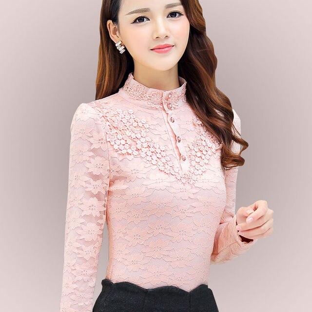 Autumn Elegant Lace Blouse Women Stand Ladies Tops Long Sleeve Button Shirt Fashion Korean Clothes Femme DD2252 1