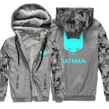 wool liner noctilucous tracksuits Camouflage color Hoodies harajuku fitness Hooded men fleece Thicken Zipper Jacket coats 2019