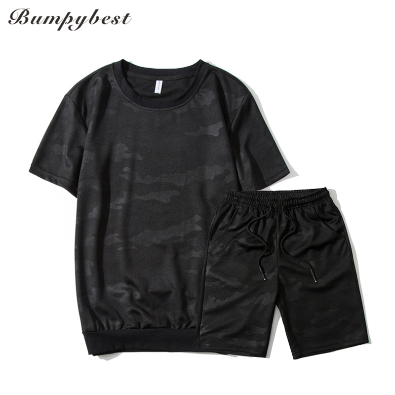 Bumpybeast brand 2018 summer Mens Black Camouflage Sets mens sportswear O-neck Casual tshirts+shorts tracksuit men 4XL Asia