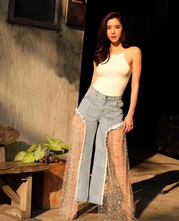 Party Jeans Celebrity Leg-Pants Sexy Wide Fashion Women Mesh Star See-Through Pub Body-Con