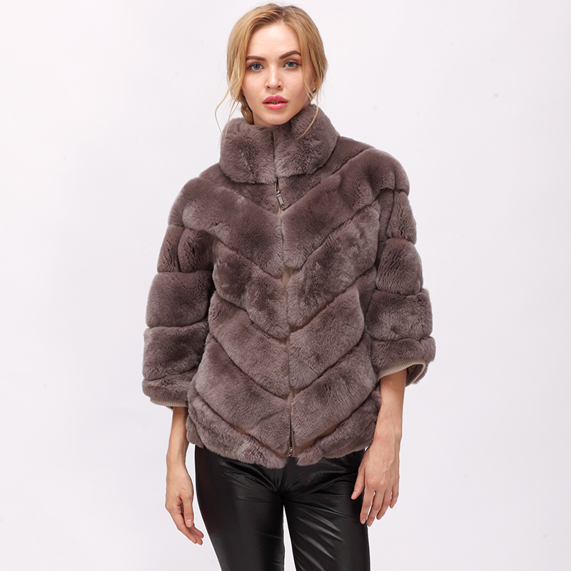 CNEGOVIK 2018 Winter Short Rabbit Fur Real Fur Batwing Coat Short Real Fur Coat Womens Winter