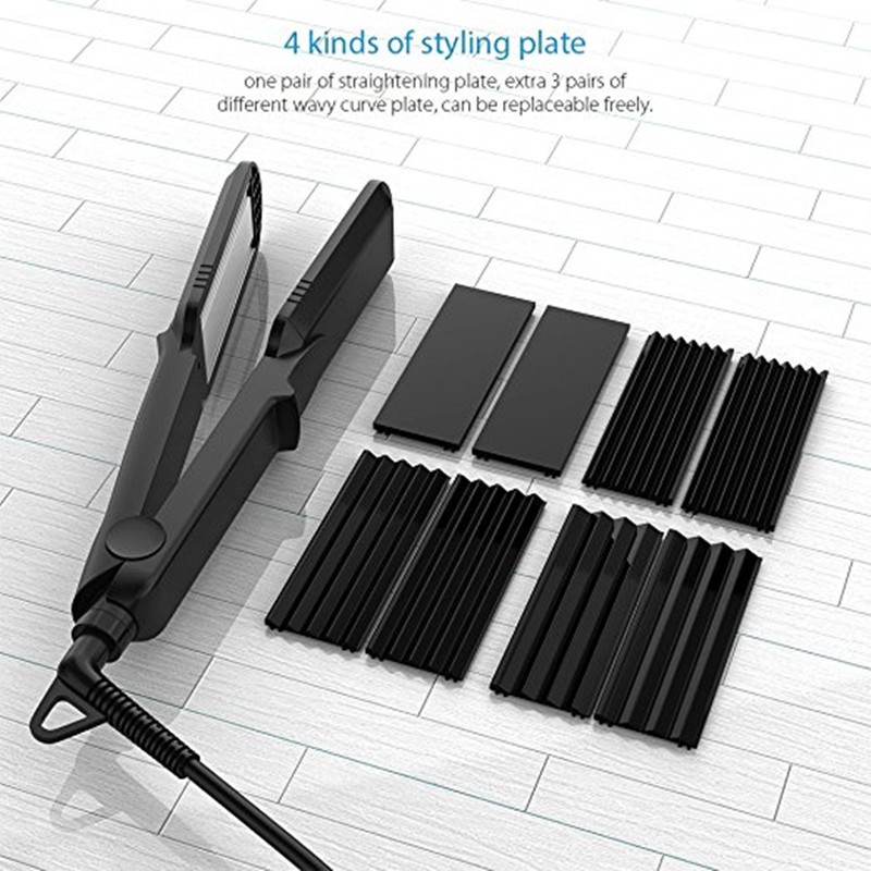 Corrugation Curling Iron Ceramic Hair Curler Rollers Crimper Waver Corrugated Wave Plate 4 in 1 Hair Straightener styling tools 4 in 1 hair flat iron ceramic fast heating hair straightener straightening corn wide wave plate curling hair curler styling tool