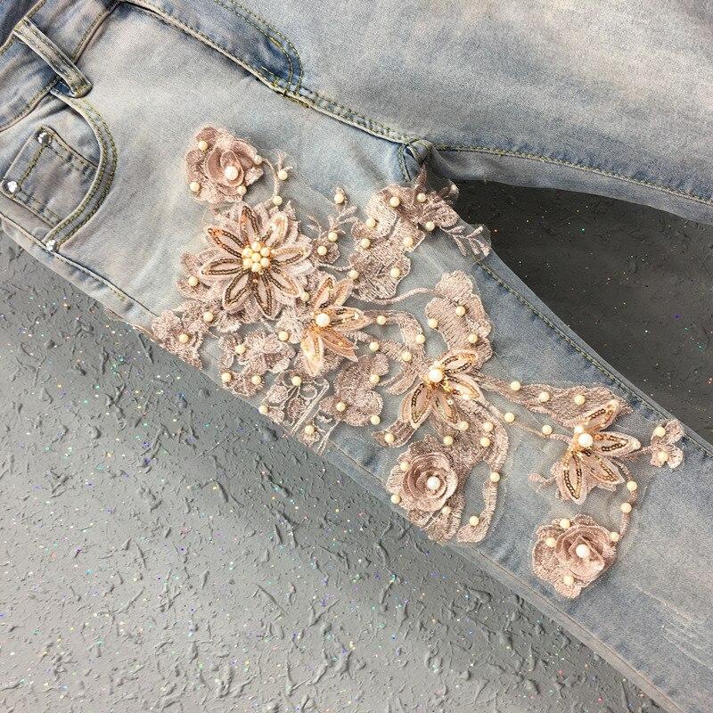 Casual Gland D'été Élastique Haute Jeans Fleur Pantalon Perles Taille Automne Femme Maigre Broderie Designer Denim Femmes Flare Avr5xAIq
