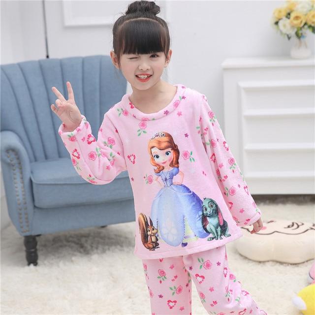 5119d5f95 Hot 2017 Winter Children Fleece Pajamas Warm Flannel Sleepwear Girls ...