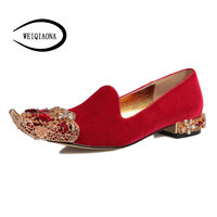 WEIQIAONA Nieuwe Mode vrouwen Retro Royal Palace schoenen Kristal Metalen decoratieve wees Persoonlijkheid platte Rome stijl Dames schoenen