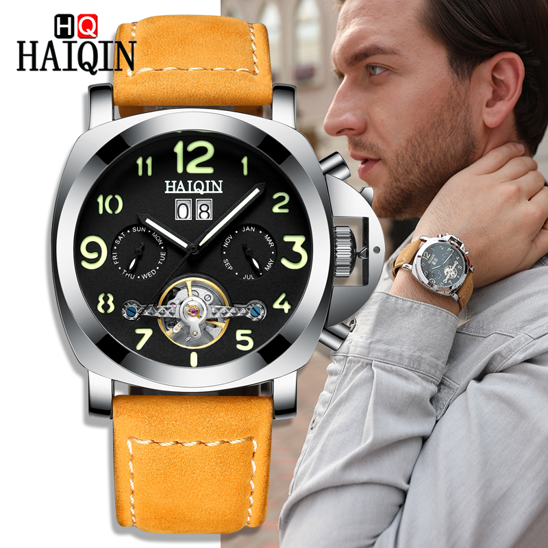 HAIQIN Mens Watches Tourbillon Mechanical Watch Casual Leather Military Waterproof Wristwatch Sport Watch Men relogio masculinoHAIQIN Mens Watches Tourbillon Mechanical Watch Casual Leather Military Waterproof Wristwatch Sport Watch Men relogio masculino