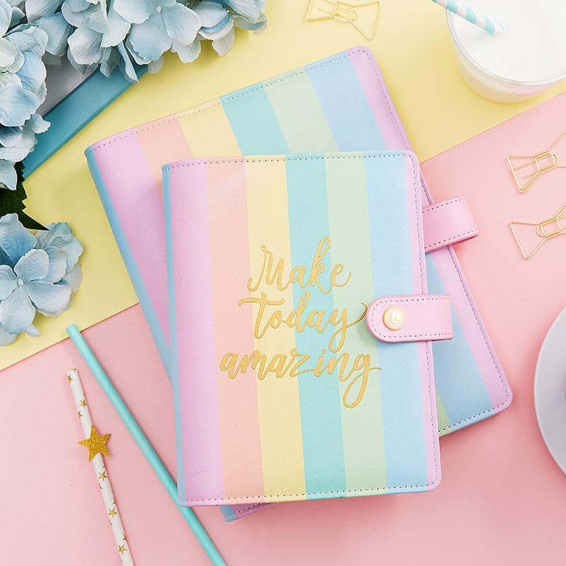 Lovedoki coréenne arc-en-spirale liant portable a5a6a7 Planificateur Organisateur 2019 agenda mignon journal fixes Fournitures scolaires cadeau