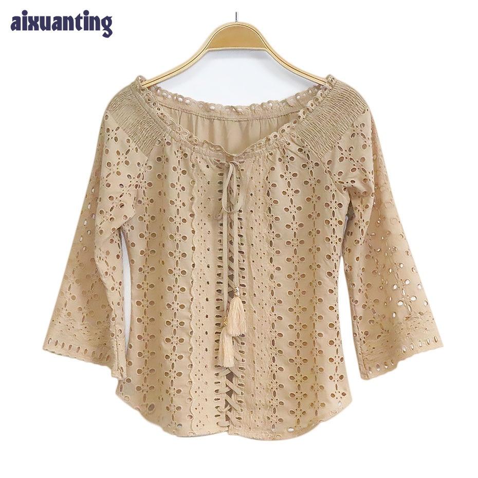 Cutumn New Slash Neck Women Shirts Fashion khaki Hollow Out Flare Sleeve Three Quarter Lady Blouse