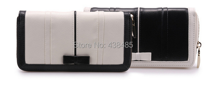 2014 black white color block luxury famous brand wallets women genuine leather purse bowknot design wallet - China Best Genuine Leather Bag Supplier store