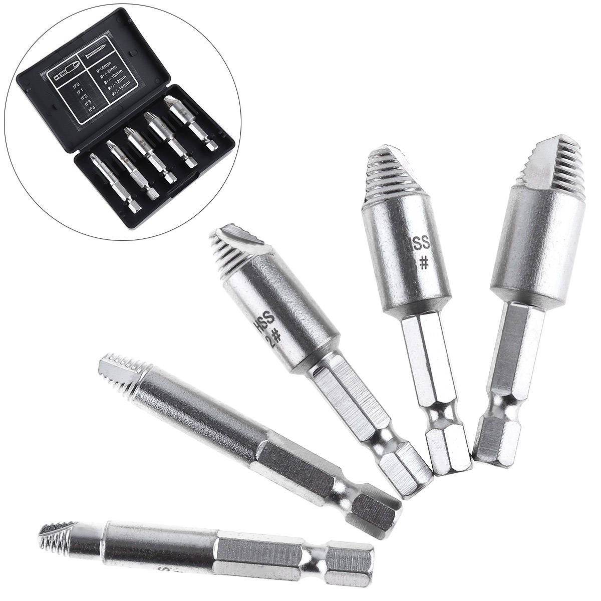 5pcs HSS Silver Strip Breakage Screw Extractor with Threaded Type Screw Tool for Home Screw Extractor screw extractor