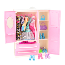 1/12 Chinese Furniture 36 Items =1 X Wardrobe +5 Dresses +10 Bags Shoes Hangers Dollhouse Accessories For Barbie Dolls