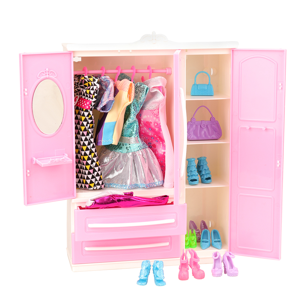 Cheap Dollhouse Accessories 36/set Furniture =1 X Closet For Barbie+ 35 Doll Product Bedroom Clothes Shoes For Barbie DIY Game