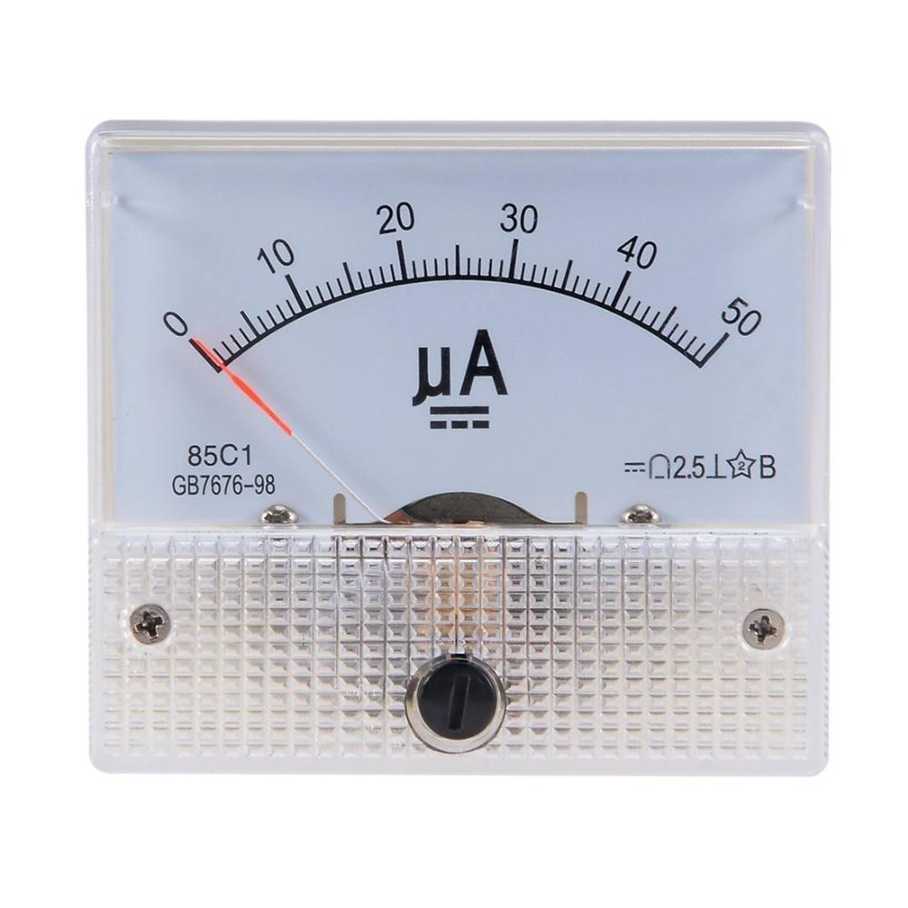 Pointer DC Micro Ammeter DC 0-100uA 50uA 200uA 500uA Analog Panel AMP Current Meter Ammeter Gauge Amperemeter 85C1