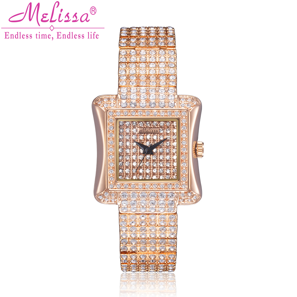 Top Melissa Lady Women's Watch Japan Quartz Fashion Dress Bracelet Full Rhinestone Luxury Crystal Party Girl Birthday Gift fashion modern silver crystal flower quartz pocket watch necklace pendant women lady girl birthday gift relogio de bolso antigo