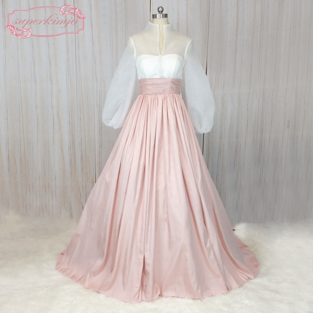 SuperKimJo 1950 s Prom Kleider Langarm Vintage Rosa Abendkleid Sheer ...