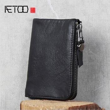 AETOO Handmade simple cowhide wallet head layer small