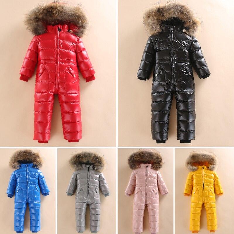 -30 ruso invierno Snowsuit 2018 bebé chaqueta 80% pato abajo al aire libre infantil ropa niñas escalada para niños mono 2 ~ 5y