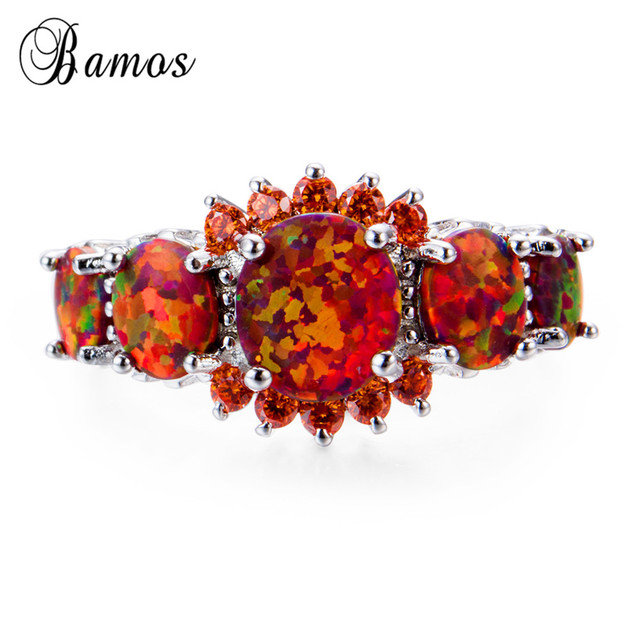 Bamos Brand Fashion Round Orange Fire Opal Ring 100% Real 925 Sterling Silver Jewelry For Lady Christmas Gifts Luxury Rings 2