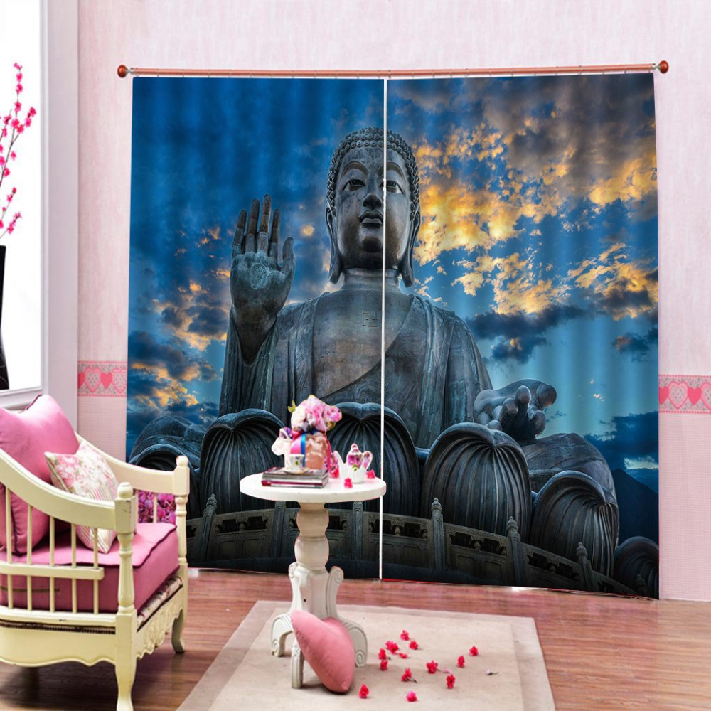 customize 3D curtains Buddha statue Used for church Buddhism window 3D curtains  customize 3D curtains Buddha statue Used for church Buddhism window 3D curtains