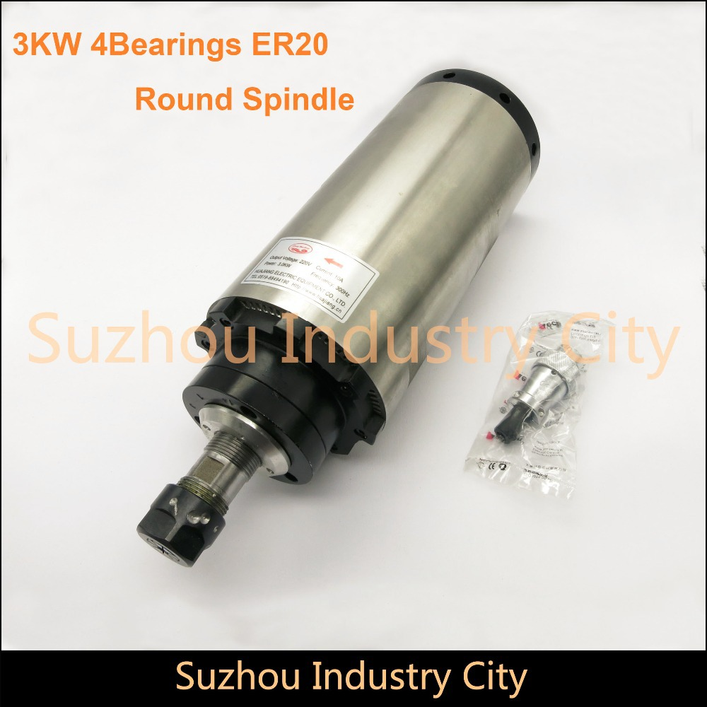 цена на 3 KW Air-Cooled CNC Spindle Motor Round type for CNC engraving milling grind 220V ER20 Air cooling 4 bearings. High Quality !