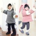 winter cute baby girls thickening clothes kids plus velvet  zipper cotton Hoodies children long ears rabbit Sweatshirts