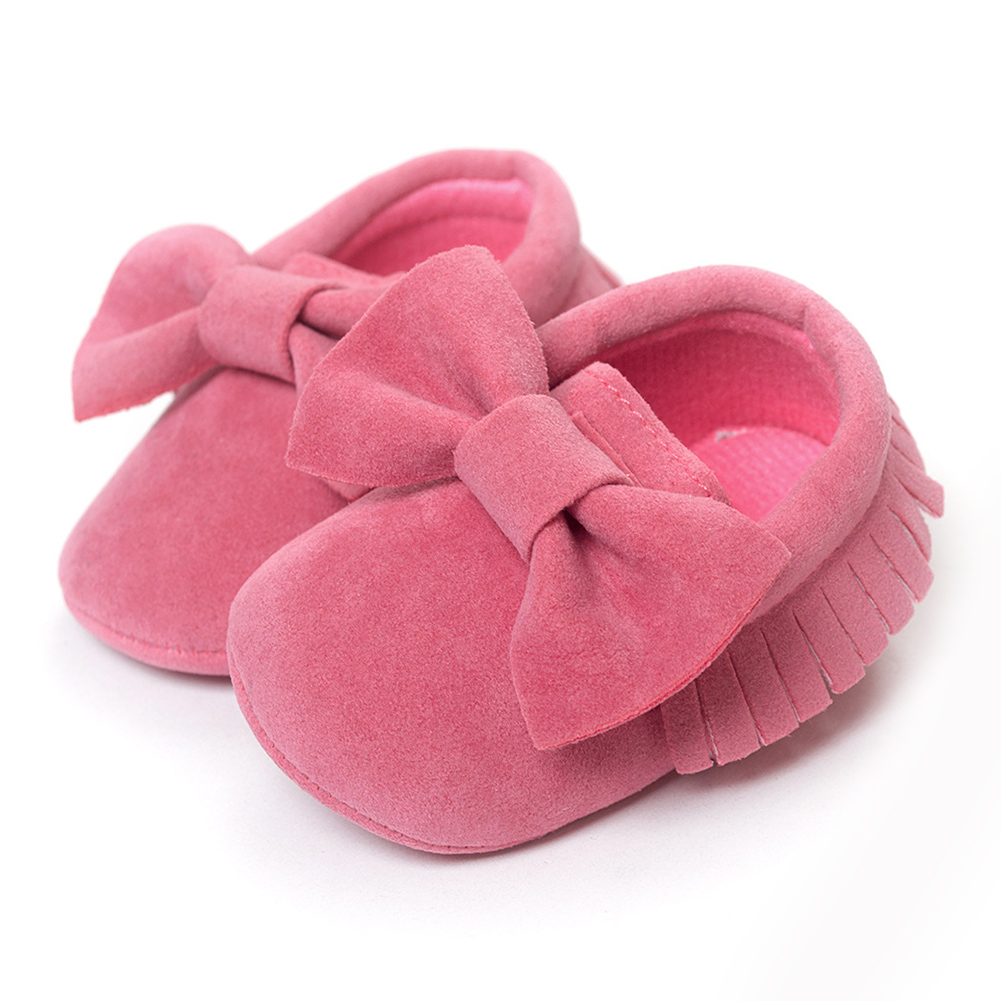ROMIRUS Baby Soft Tassel Girls Bow Moccs Soft sole Infants Girl shoes Tassel Shoes Watermelon Red 13cm