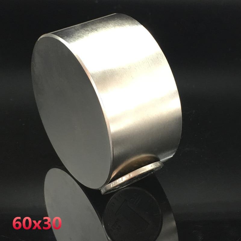 Magnete al neodimio 60x30 terre rare super strong potente rotonda saldatura ricerca permanente magnetico 60*30 millimetri gallio disco di metallo