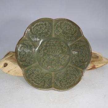 Antique Old Chinese Song Dynasty YaoZhou Kiln porcelain bowl,Celadon carved small dish, collection & adornment, Free shipping
