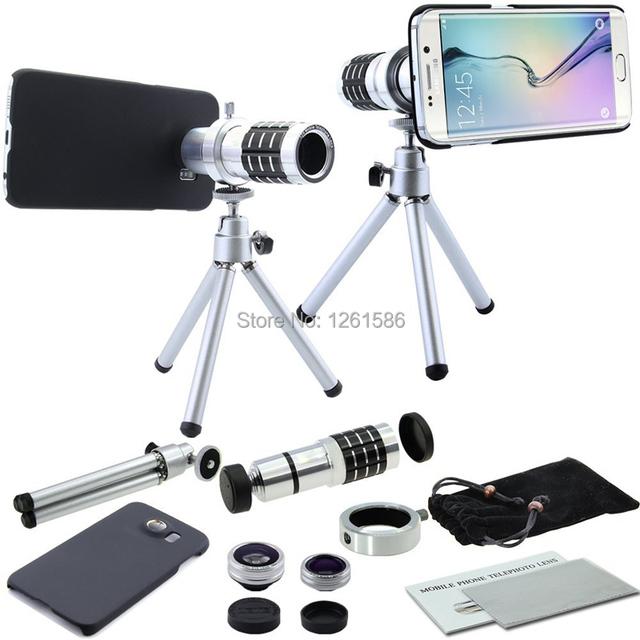9 unidades de la cámara teleobjetivo set: case + mini trípode + 12x zoom telescopio y impresionante 3 lentes para samsung galaxy s6 edge plus s6/nota 5/4