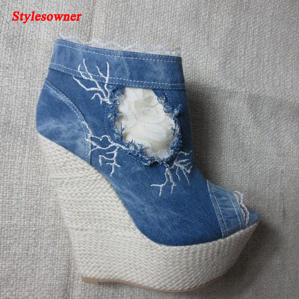 Stylesowner lace denim ankle boots open toe platform zip high heels large size shoes wedge woman botas feminina summer boots fashion women summer boots denim sandals peep toe ankle botas high heels gladiator wedge shoes woman height increasing wedges