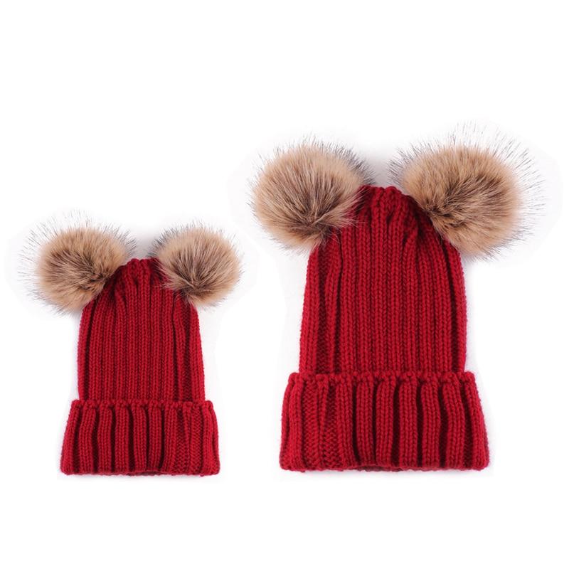 716abd2e4b9 ... 2017 Winter Mom Newborn Faux Fur Ball Hat Baby Boy Girls Warm Double  Fur Pom Pom Hat ...