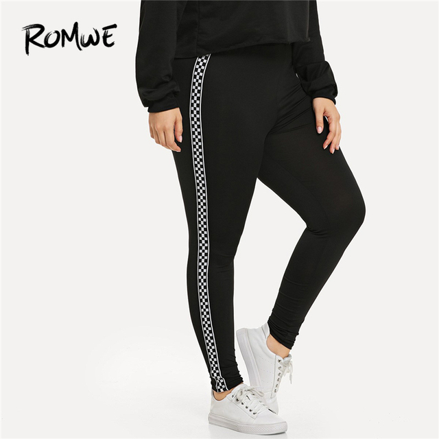 5795104f693bd Romwe Sport Plus Size Black Plaid Contrast Checkered Skinny Leggings Fitness  Yoga Pants Gym Women 2019 Sportswear Yoga Tights