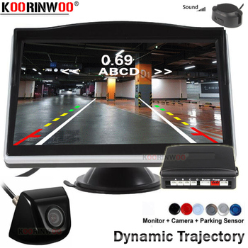 Koorinwoo Dynamic trajectory Moving Parktronic 4 Buzzer Car Parking Sensor Car Reverse camera Brumper Car Monitor Display Player